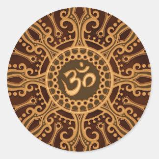 Golden Brown Aum Star Round Sticker