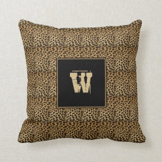 Golden Brown Black Stripe - Leopard Print Pillow