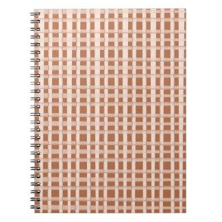 Golden Brown Checks Artist created elegant pattern Spiral Notebooks