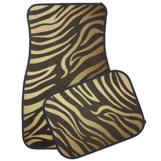 Golden Brown Gold Bronze Zebra Animal Print Car Mat