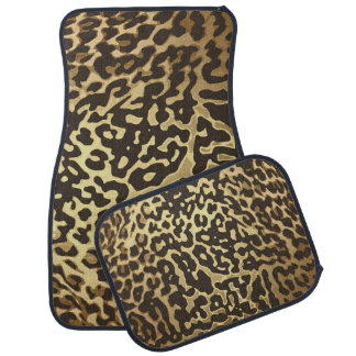 Golden Brown Gold Leopard Cheetah Animal Print Car Mat