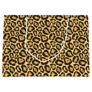 Golden Brown Jaguar Wild Animal Print Pattern Large Gift Bag