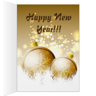 Golden brown new year decoration with snow card