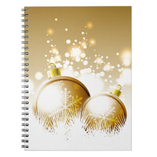 Golden brown new year decoration with snow spiral notebook