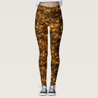 golden brown pinstripe black background leggings