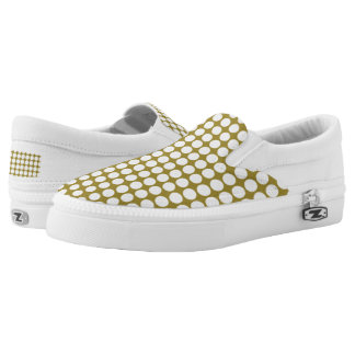Golden Brown Polka Dots Women or Men Slip-On Shoes