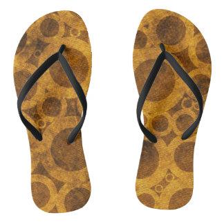 Golden Brown Steampunk Abstract Pattern Flip Flops