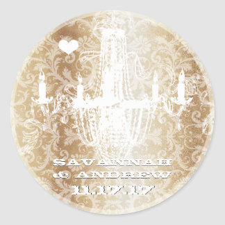 Golden Brown Vintage Damask Chandelier Stickers
