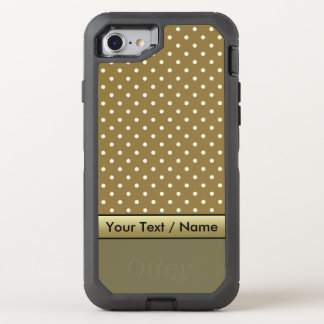 Golden Brown White Polka Dots On Loden Green OtterBox Defender iPhone 8/7 Case