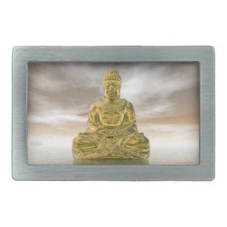 Golden buddha - 3D render Rectangular Belt Buckles