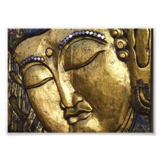 Golden Buddha, Eyes Closed, Praying Meditating Art Photo