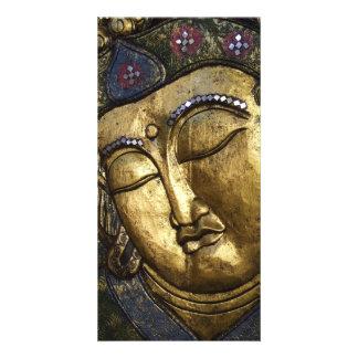 Golden Buddha Eyes Closed Praying Meditating Photo Customized Photo Card