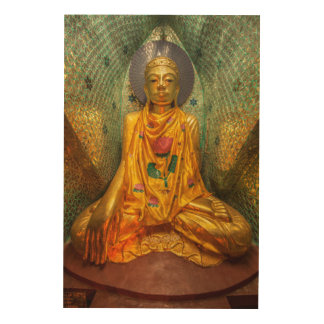Golden Buddha In Temple Wood Wall Art