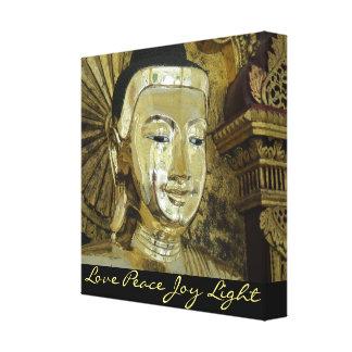Golden Buddha Love Peace Joy Light Black Canvas Canvas Prints