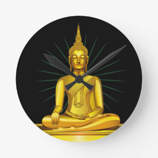 Golden Buddha Wall Clock