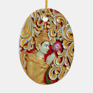 Golden Buddhist meditating with Lotus flower Ceramic Ornament