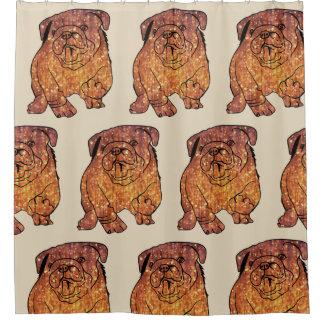 Golden Bulldog French Buldog Shower Curtain