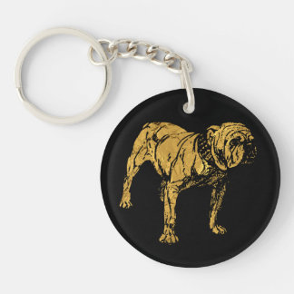 Golden Bulldog Key Ring