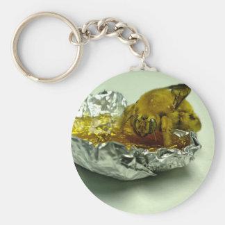 Golden Bumble Bee Eating Honey Basic Round Button Key Ring