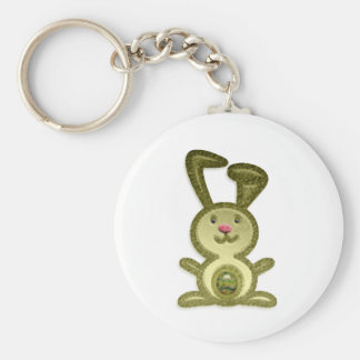 Golden Bunny Basic Round Button Key Ring