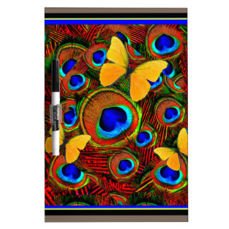 Golden Butterflies Blue Peacock Feathers Dry-Erase Boards
