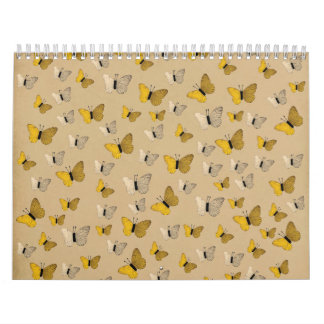 Golden Butterflies Rustic Gold Yellow Butterfly Calendars