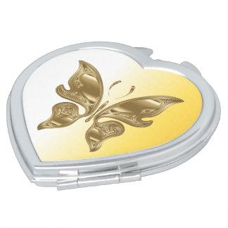 Golden butterfly compact mirror