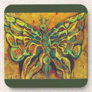 Golden Butterfly Hard Plastic Coasters