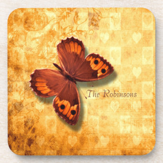 Golden Butterfly Hearts Personalized Beverage Coaster