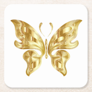 GOLDEN BUTTERFLY SQUARE PAPER COASTER
