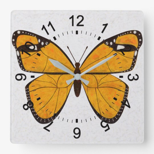Golden Butterfly Square Wall Clock