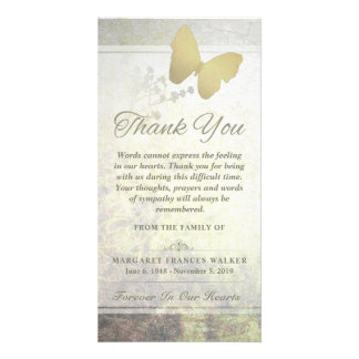 Golden Butterfly Words Cannot Express Thank You Photo Card