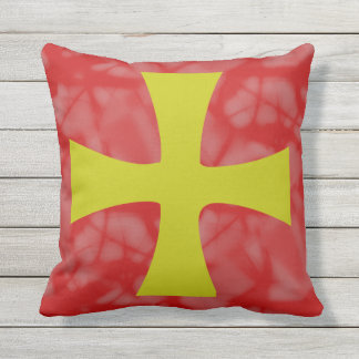 Golden Byzantine Cross Red Background Outdoor Cushion