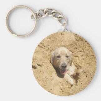 Golden Camouflage Basic Round Button Key Ring