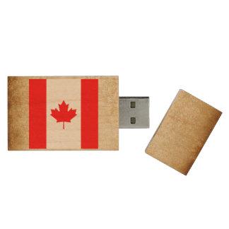 Golden Canada Flag Wood USB Flash Drive