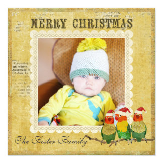 Golden Canaries Christmas Photo Card 13 Cm X 13 Cm Square Invitation Card