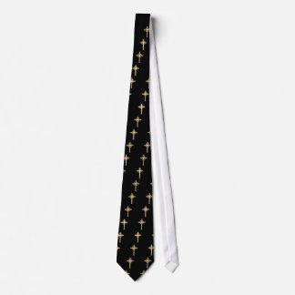 Golden Celtic Christian Cross Tie