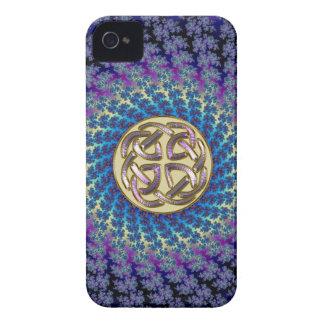 Golden Celtic Knot on a Colorful Spiral Fractal iPhone 4 Case