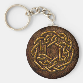 Golden celtic ornament on leather key ring