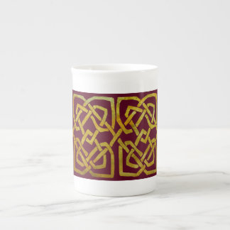 Golden Celtic Square Knots on Burgundy Bone China Mug