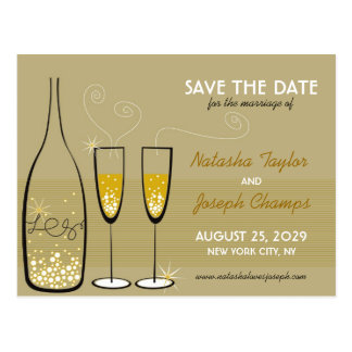 Golden Champagne Bubbles Celebration Save The Date Postcard