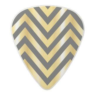 Golden chevron grandiose art deco acetal guitar pick