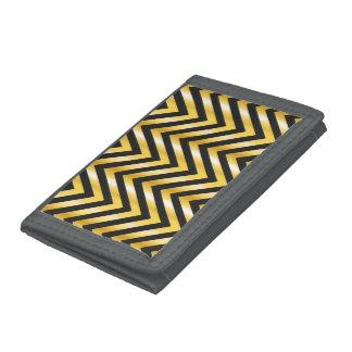 Golden chevron grandiose art deco trifold wallets