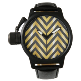Golden chevron grandiose art deco watch