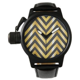 Golden chevron grandiose art deco wristwatch