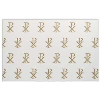 Golden Chi Rho Symbol Fabric