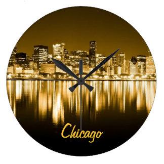 golden Chicago skyline clock