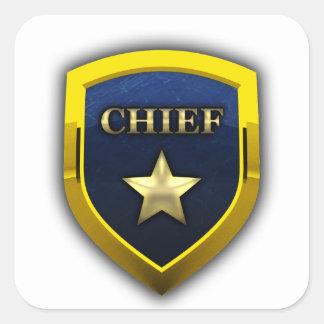 Golden Chief Badge Square Sticker