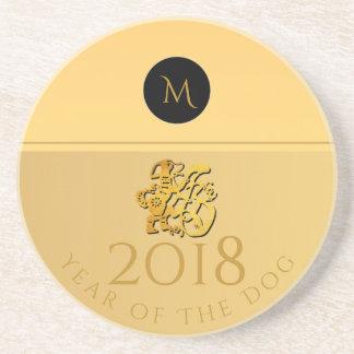 Golden Chinese Dog Papercut 2018 Monogram Sandst Coaster