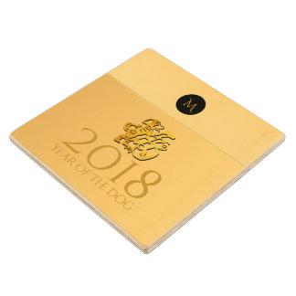 Golden Chinese Dog Papercut 2018 Monogram Wood C Wood Coaster